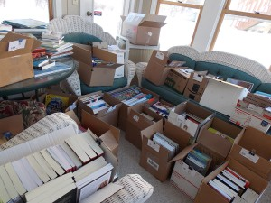 Books waiting to be shipped to judges in the Midwest Book Awards.