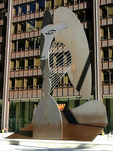 Picasso sculpture in Daley Plaza, Chicago, Illinois, by J. Crocker