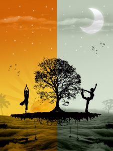 sun, moon, morning, evening, yoga, sunrise